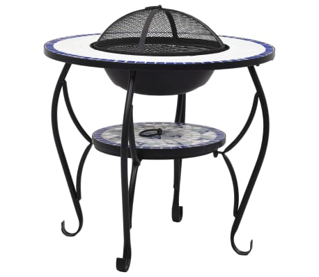 "vidaXL Mosaic Fire Pit Table Blue and White 26.8"" Ceramic[2/9]"