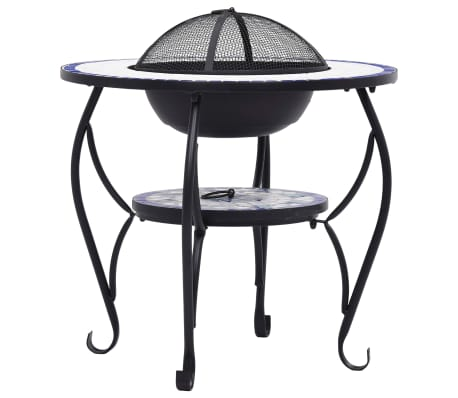 "vidaXL Mosaic Fire Pit Table Blue and White 26.8"" Ceramic[6/9]"