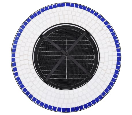 "vidaXL Mosaic Fire Pit Table Blue and White 26.8"" Ceramic[8/9]"
