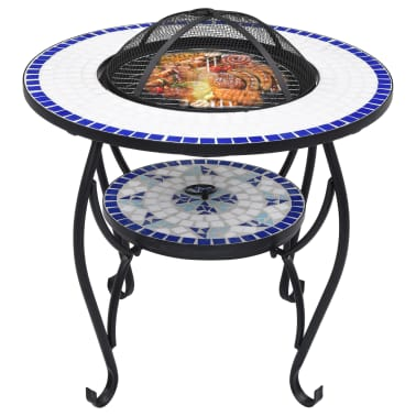 "vidaXL Mosaic Fire Pit Table Blue and White 26.8"" Ceramic[3/9]"