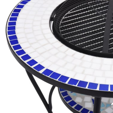 "vidaXL Mosaic Fire Pit Table Blue and White 26.8"" Ceramic[7/9]"