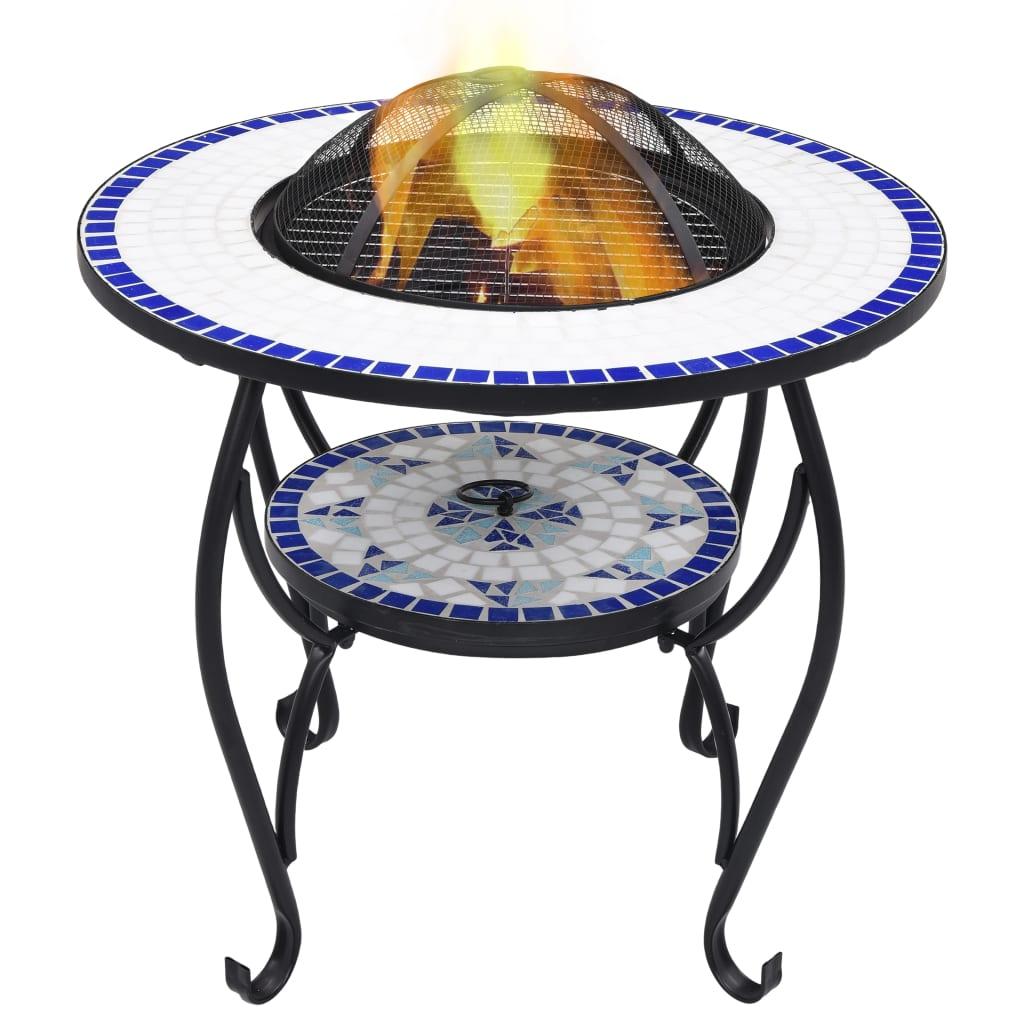 Mozaikový stolek s ohništěm modrobílý 68 cm keramika