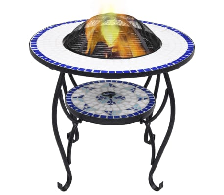 "vidaXL Mosaic Fire Pit Table Blue and White 26.8"" Ceramic[1/9]"