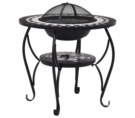 "vidaXL Mosaic Fire Pit Table Black and White 26.8"" Ceramic[2/9]"