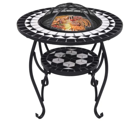"vidaXL Mosaic Fire Pit Table Black and White 26.8"" Ceramic[3/9]"