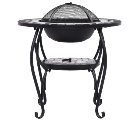 "vidaXL Mosaic Fire Pit Table Black and White 26.8"" Ceramic[5/9]"