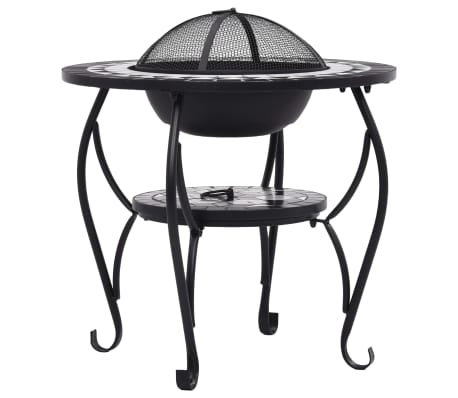 "vidaXL Mosaic Fire Pit Table Black and White 26.8"" Ceramic[6/9]"
