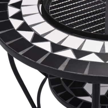"vidaXL Mosaic Fire Pit Table Black and White 26.8"" Ceramic[7/9]"