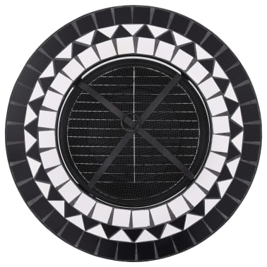 "vidaXL Mosaic Fire Pit Table Black and White 26.8"" Ceramic[8/9]"