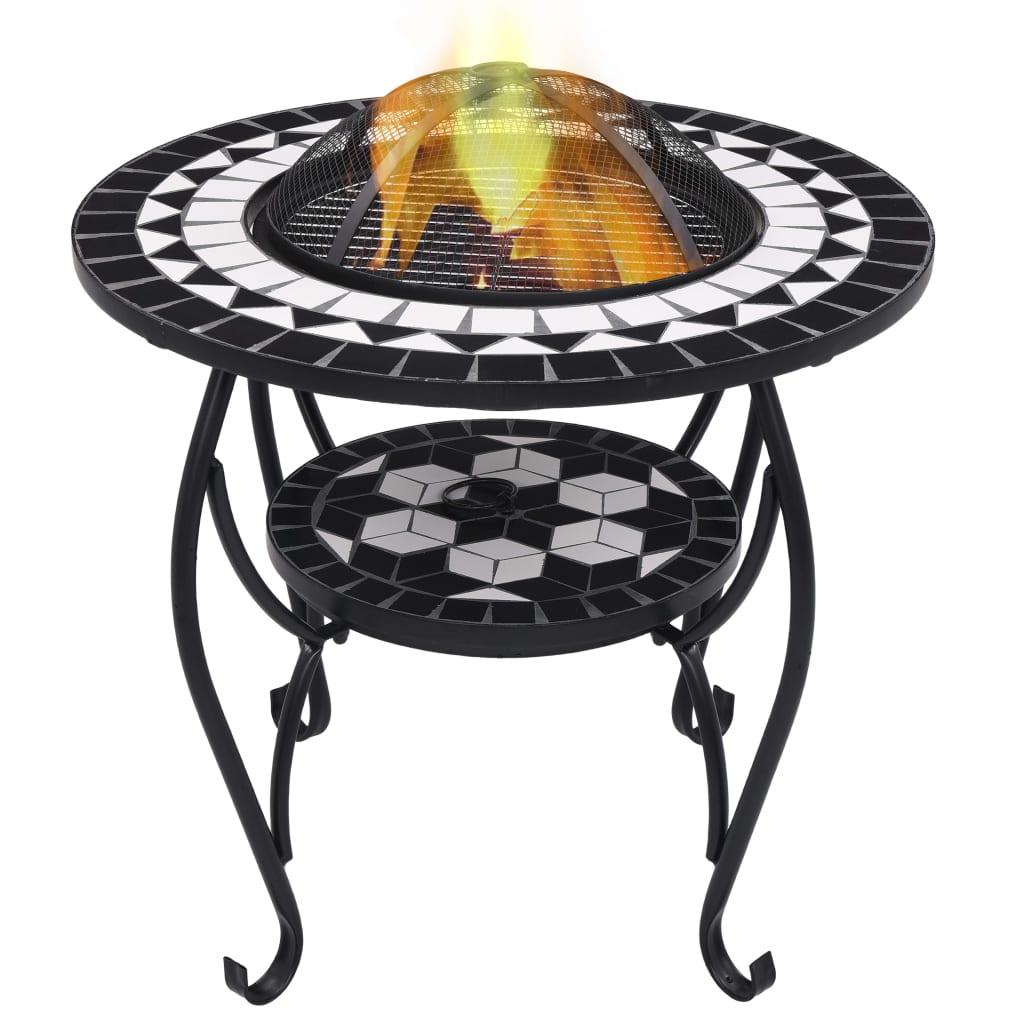 Mozaikový stolek s ohništěm černobílý 68 cm keramika