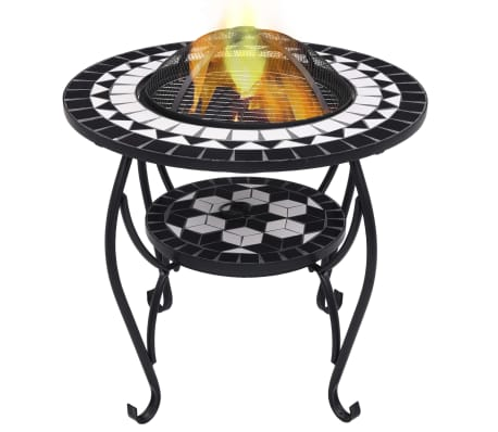 "vidaXL Mosaic Fire Pit Table Black and White 26.8"" Ceramic[1/9]"