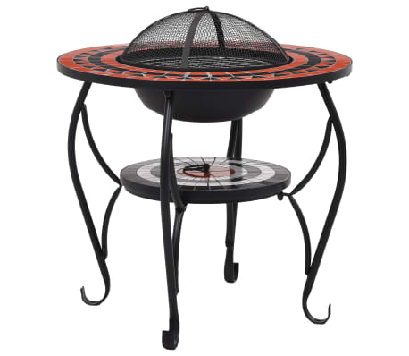 "vidaXL Mosaic Fire Pit Table Terracotta and White 26.8"" Ceramic"
