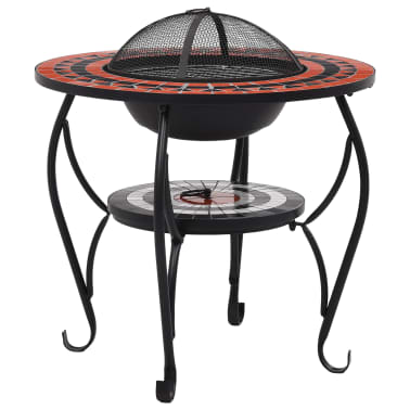 """vidaXL Mosaic Fire Pit Table Terracotta and White 26.8"""" Ceramic[2/9]"""