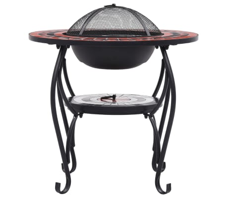 """vidaXL Mosaic Fire Pit Table Terracotta and White 26.8"""" Ceramic[4/9]"""