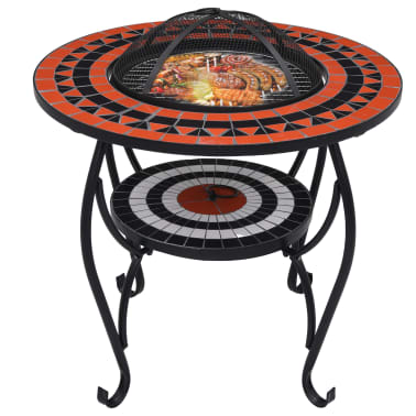 """vidaXL Mosaic Fire Pit Table Terracotta and White 26.8"""" Ceramic[3/9]"""