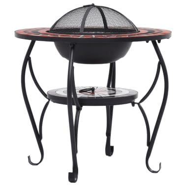 """vidaXL Mosaic Fire Pit Table Terracotta and White 26.8"""" Ceramic[5/9]"""