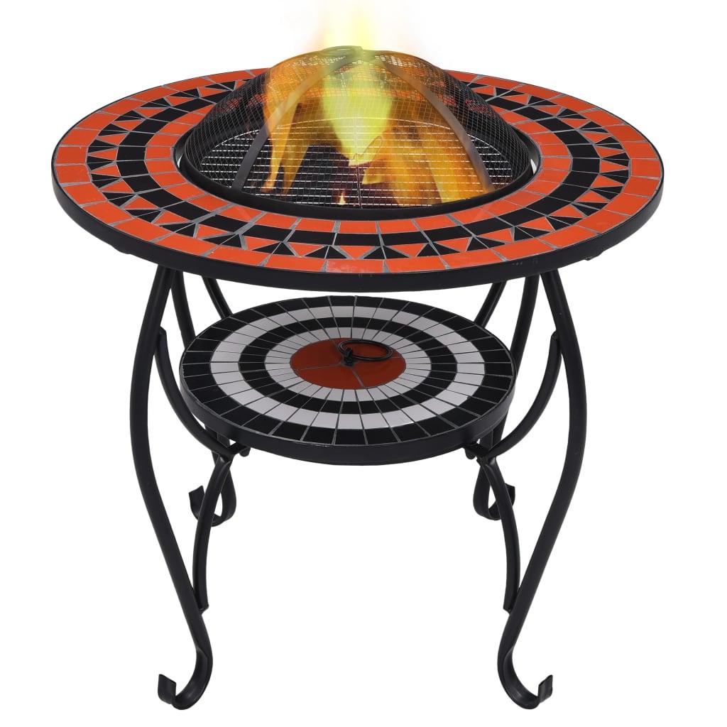 Mozaikový stolek s ohništěm terakotovo-bílý 68 cm keramika
