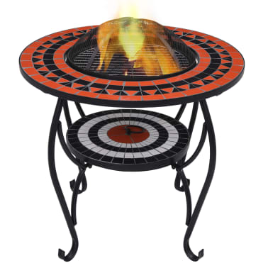 """vidaXL Mosaic Fire Pit Table Terracotta and White 26.8"""" Ceramic[1/9]"""