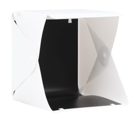 vidaXL Hopfällbart ljustält med LED-lampa 23x25x25 cm vit