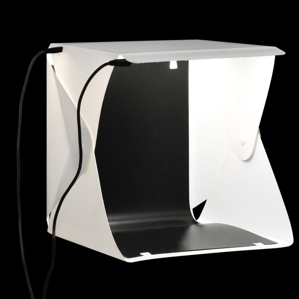 vidaXL Cort foto cu LED-uri pliabil, alb, 23 x 25 x 25 cm poza 2021 vidaXL