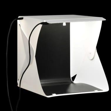 vidaXL Boîte à lumière de studio LED pliable 23x25x25 cm Blanc[1/8]