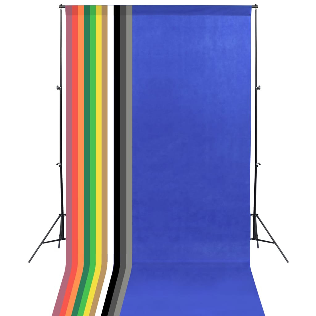 vidaXL Kit studio foto, 13 fundaluri colorate 1,6 x 5 m, negru, oțel poza 2021 vidaXL
