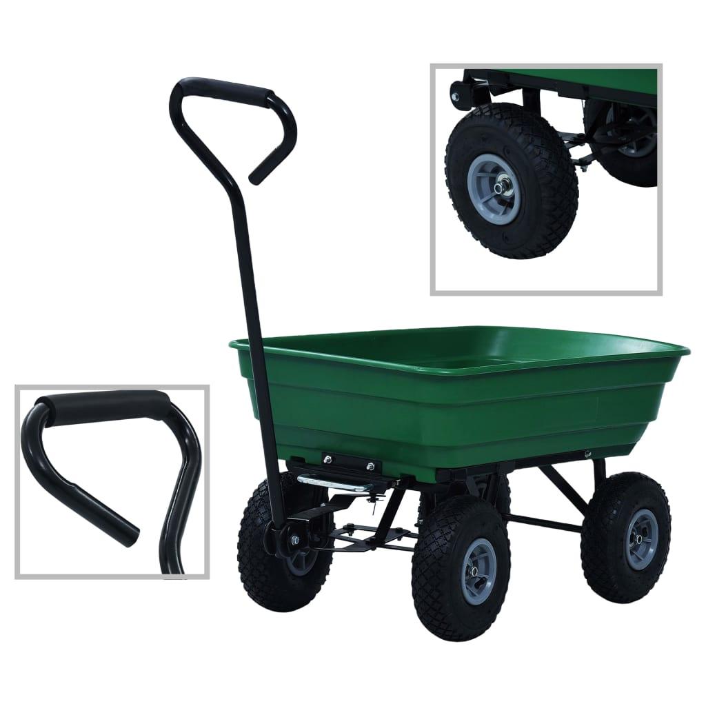 Zahradní sklápěcí ruční vozík 300 kg 75 l zelený