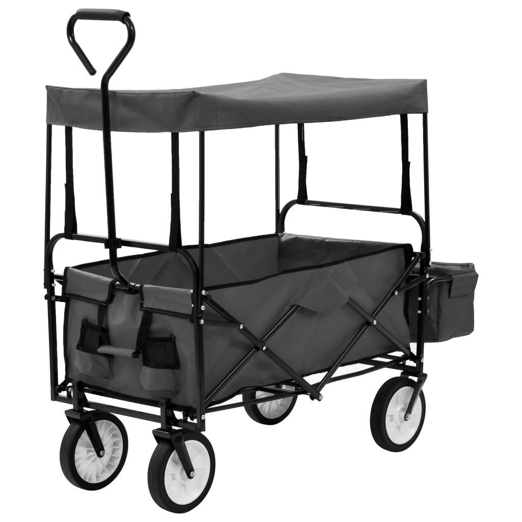 Skládací ruční vozík se stříškou ocel šedý