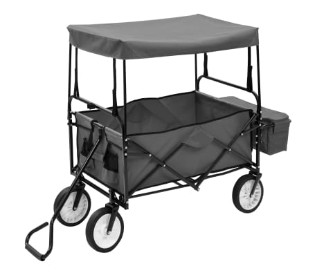 vidaXL Folding Hand Trolley with Canopy Steel Gray[2/9]