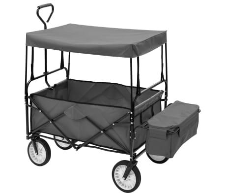 vidaXL Folding Hand Trolley with Canopy Steel Gray[3/9]