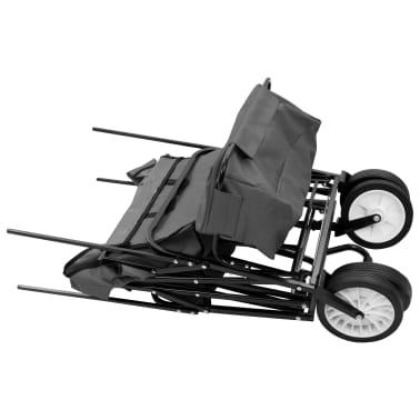 vidaXL Folding Hand Trolley with Canopy Steel Gray[4/9]