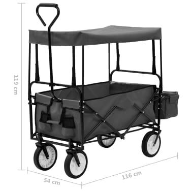 vidaXL Folding Hand Trolley with Canopy Steel Gray[9/9]