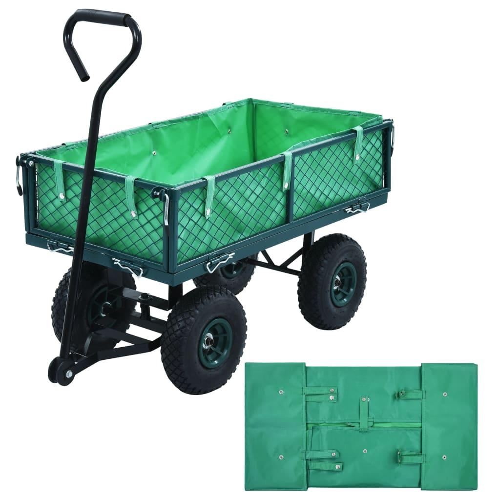 vidaXL Căptușeală cărucior de grădină, verde, material textil vidaxl.ro