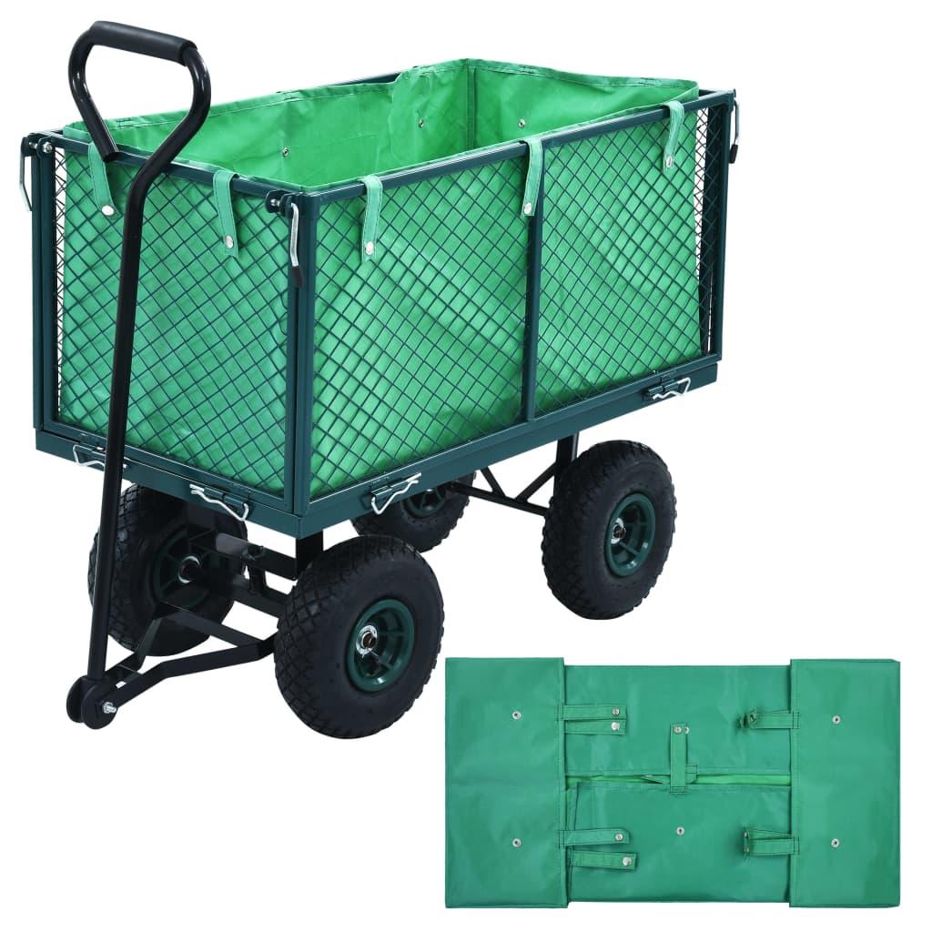 vidaXL Vložka do zahradního vozíku zelená textil