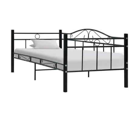 vidaXL Cadru pat de zi, negru, 90 x 200 cm, metal