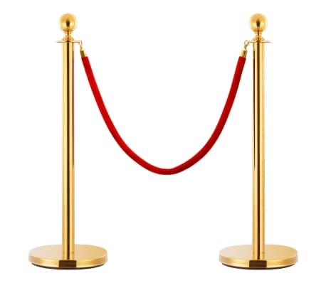 vidaXL VIP eilės užtvaros rinkinys, 3 dalių, auksinis, plienas[2/7]