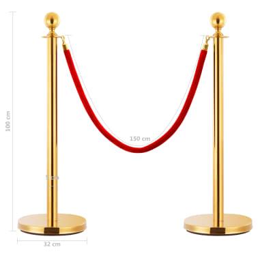 vidaXL VIP eilės užtvaros rinkinys, 3 dalių, auksinis, plienas[7/7]