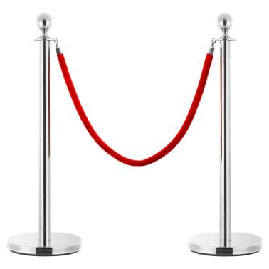 vidaXL VIP eilės užtvaros rinkinys, 3 dalių, sidabrinis, plienas[2/7]
