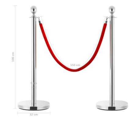 vidaXL VIP eilės užtvaros rinkinys, 3 dalių, sidabrinis, plienas[7/7]