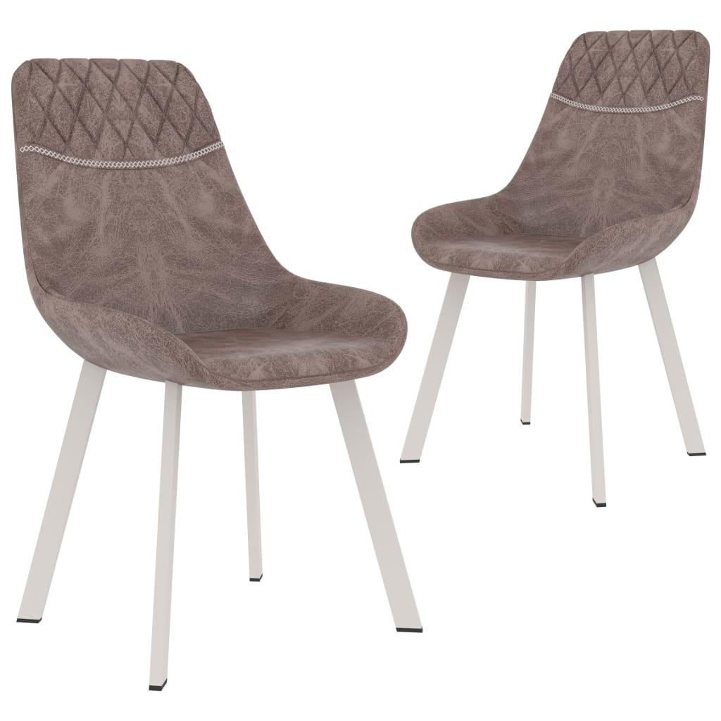vidaXL Καρέκλες Τραπεζαρίας 2 τεμ. Καφέ από Συνθετικό Δέρμα