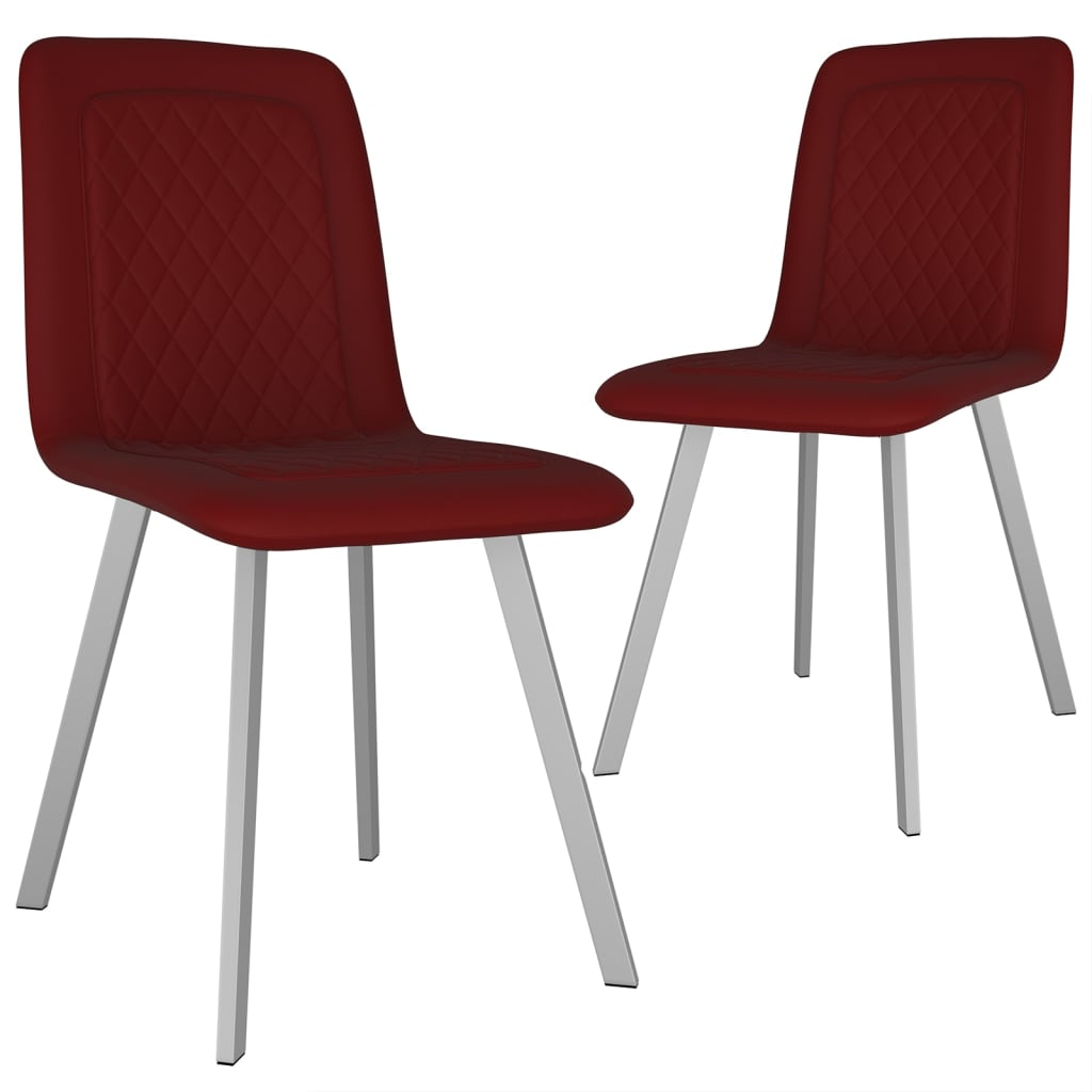 vidaXL Καρέκλες Τραπεζαρίας 2 τεμ. Κόκκινες Βελούδινες