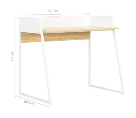 vidaXL Bureau Blanc et chêne 90 x 60 x 88 cm[7/7]