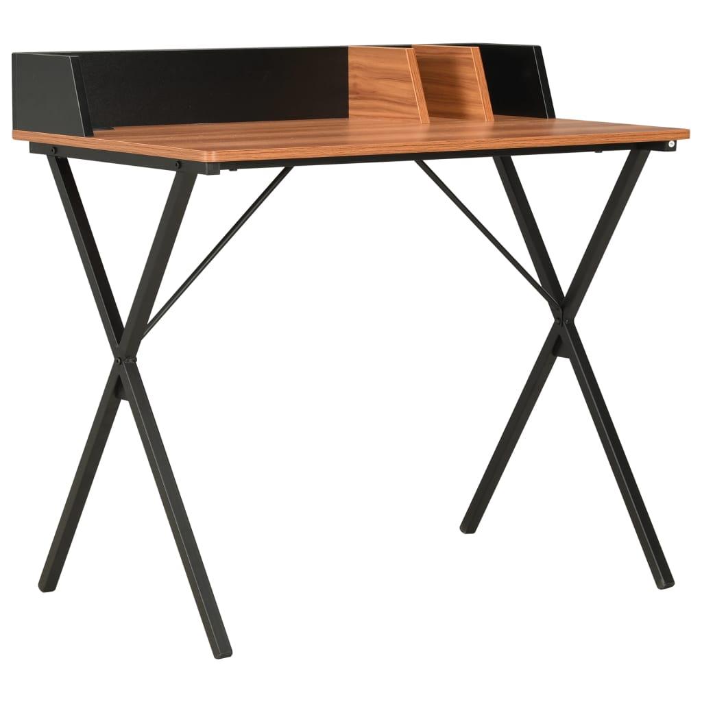 vidaXL Bureau Noir et marron 80x50x84 cm