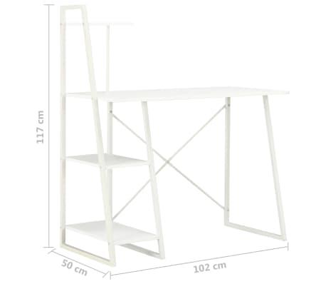 vidaXL Bureau avec étagère Blanc 102x50x117 cm[7/7]