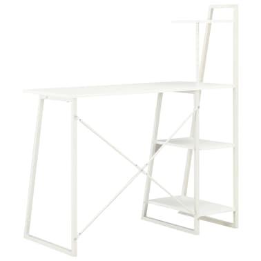 vidaXL Bureau avec étagère Blanc 102x50x117 cm[4/7]