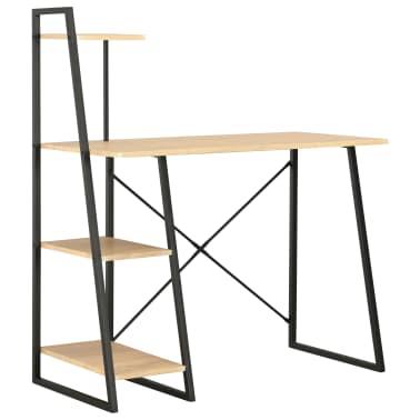 vidaXL Bureau avec étagère Noir et chêne 102x50x117 cm[1/7]