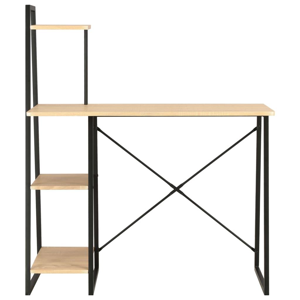 Psací stůl s poličkami černý a dubový odstín 102 x 50 x 117 cm