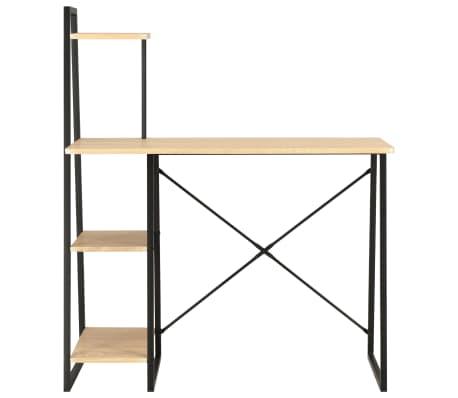 vidaXL Bureau avec étagère Noir et chêne 102x50x117 cm[2/7]