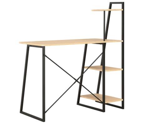 vidaXL Bureau avec étagère Noir et chêne 102x50x117 cm[4/7]