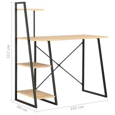 vidaXL Bureau avec étagère Noir et chêne 102x50x117 cm[7/7]